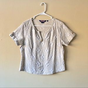 Vineyard Vines Linen Embroidered Short Sleeve Top